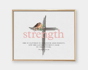 Baptism Gift - Art Print - She Is Clothed In Strength And Dignity - Bible quote - Nursery - Horizontal - Christening Gift - SKU:8307