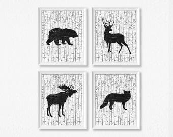 Rustic Nursery Art Prints - Set Of Four - Woodland Forest Animals - Black and White Birch - Fox - Moose - Deer - Bear - Baby Shower Gift
