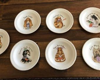 Vintage Mid-Century Ardalt Lenwille China Coasters of Dogs Playing Cards