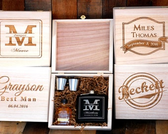 Personalized Flask Groomsmen Gift Box, Groomsmen Flask Set, Gifts for Groomsmen, Engraved Flask, Custom Flask Set for Groomsmen