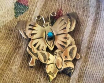 PIN BUTTERFLY Sterling Turquoise Unworn