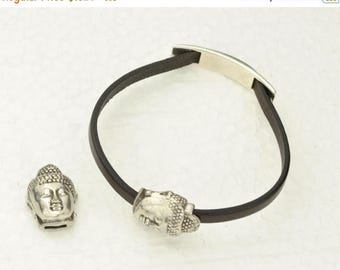 ON SALE 5MM Budda Magnetic Clasp  - Antique Silver -  For use with cord up to 5Mm