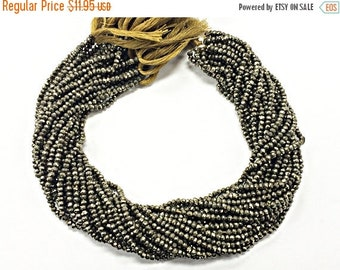 25% OFF 3.3mm Pyrite Faceted Rondelle Gemstones Beads Full Strand 13.5 Inch - Silver Grey Black -  SPYR103