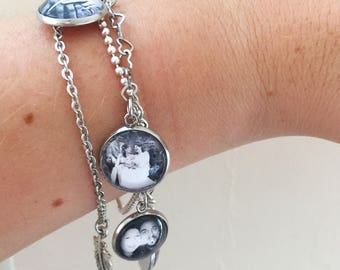 Multiple Photo Charm Bracelet in Stainless Steel, Custom Photo Bracelet, Personalized Photo Jewelry, Family Photo Charm, Gift for Her / Wife