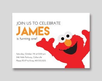 Elmo Sesame Street Birthday Invitation - Custom DIY Printable