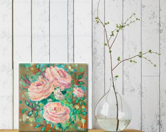 Abstract original painting pink flowers- floral art- pink- wall art- abstract art- floral- flower art- small canvas art-floral home decor