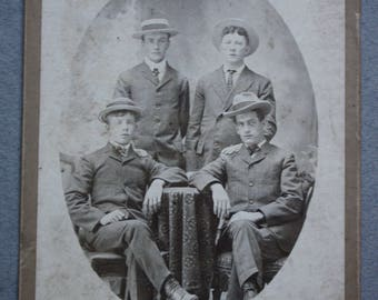 Antique Circa Late 1800s Cabinet Card of Four Gentlemen by C.H. Hall of Amenia, New York