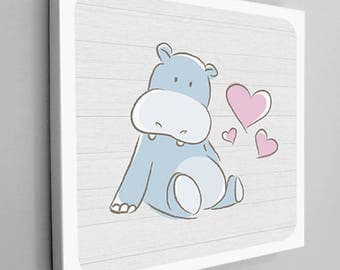 Hippo with Hearts Nursery Canvas Art, Hippo Canvas Art, Kids Room Hippo, Hippo Children's Decor, Blue and Pink Canvas, Kids Wall Art, Poster
