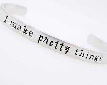 Crafter , Gift for knitter, Crochet gift, Jeweler Gift, Scrapbooker, Decoupage, Furniture Maker, Adjustable Bracelet, Handstamped gift