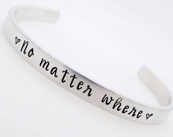 Custom, Adjustable , Long Distance Gift, No matter where, Counting the days, Handstamped, Military Wife, Deployment Gift for her bracelet