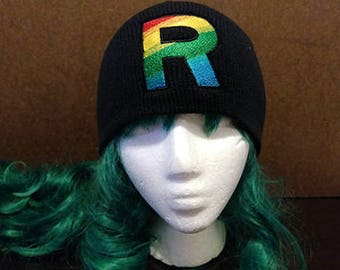 Pokemon Ultra Sun and Ultra Moon inspired Team Rainbow Rocket embroidered beanie skull cap