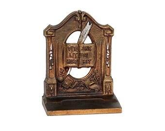 Vintage Metal Bookend - Book Lover Gift - Bradley Hubbard Bookend - Literary Gift -Teacher Gift - Vita Sine Litteris Mors Est - Seneca Quote
