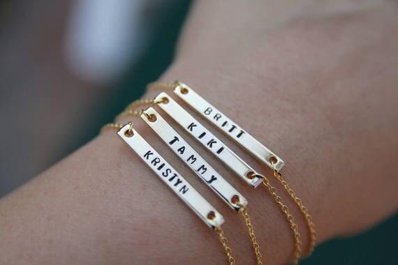 Dainty Name bracelet. Dainty Custom bracelet. Personalized Bracelet. Bridesmaid gift. Bridesmaid jewelry. Bridesmaid jewelry set.
