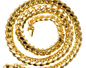 "Solid 38"" 14K Yellow Gold Miami Cuban Link Chain 18X8 MM"