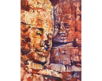 Khmer/Buddhist temple of the Bayon at Angkor Wat ruins- Siem Reap, Cambodia.  Bayon temple art watercolor print.  Watercolor print wall art