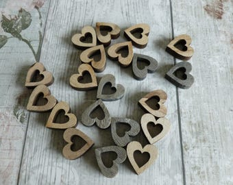 Wooden hearts x 20 mixed media/home decor/journalling