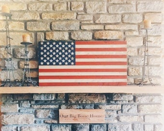 American Flag Wood Signs, God Bless the USA, American Wall Art