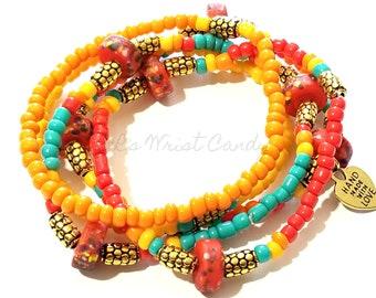 Red Orange Yellow Teal Beaded Bracelet Set, Boho Jewelry, Minimalist, Colorful Stackable Stretchy Custom Handmade Beaded Jewelry