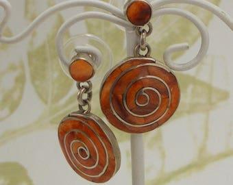 Orange Stone Spiral Drop Post Earrings  3838