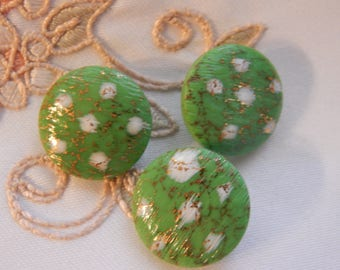 Green Buttons with White Dots and Gold Luster to Enhance - 3