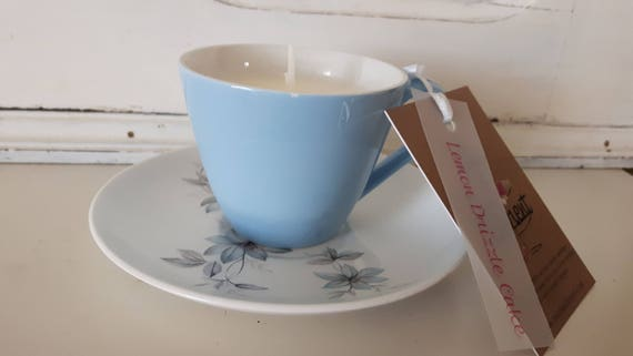 Tea cup candle. Scented soy wax vegan vintage tea cup candle, scented with lemon drizzle cake. Vegan candles. Organic soy. Made in Wales