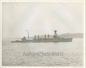 Military steam ship antique photo