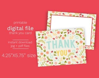 Instant Download Farmers Market Thank You Card - Print Your Own PDF and JPG file included Printable Thank you digital Farm Party Thank You