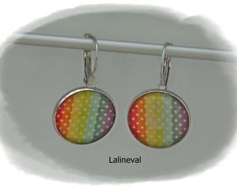 Earrings sleepers Rainbow dots