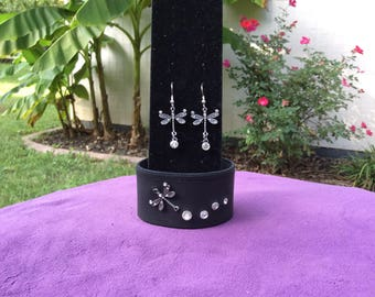 Women's Black Leather Cuff with  Dragonfly and Matching Earrings