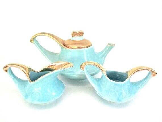 Mid Century Tea Set, Coffee Set, Pearl China, Teapot, Creamer, Sugar Bowl,  Blue Green 22kt Gold, Mid Century Modern Decor, Kitchen Decor