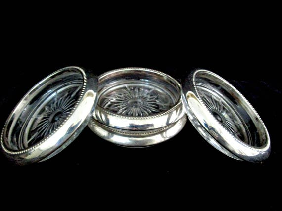 Silver Plate and Glass Coasters, Leonard of Italy,  Mid Century Barware, Starburst Center, Set of 4