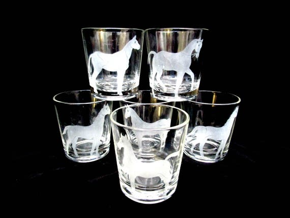 Set of 6 Lowballs, Etched Horses, Federal Glass Vintage Horse Design Barware for Horse Lover or Equestrian, Mid Century Barware