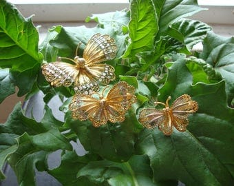 Trio of Filagree Butterfly Pins/Brooches