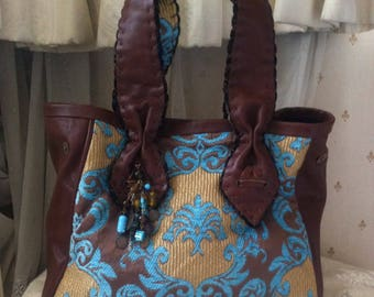 POUPA LITZA Large Roomy Shopper Tapestry, Leather Tote Bag