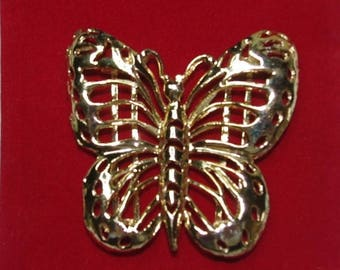 Large Gold Tone Butterfly Buckle - S2104