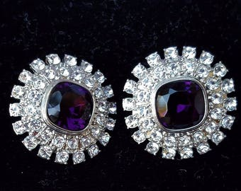 KJL Purple and Crystal Earrings Pierced - S2199