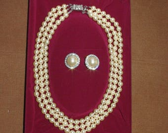 Jackie Kennedy Pearl Necklace SET with Pearl Earrings - Triple Strand with Box and Certificate