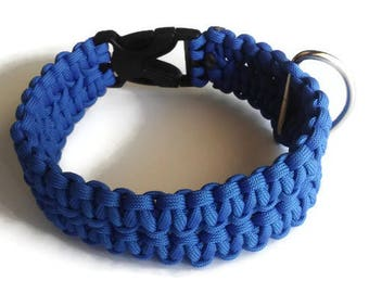Pawacord Patriotic Double Wide Single Color Paracord Dog Collar