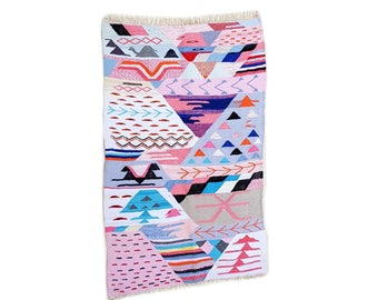 "75""X47"" Handwoven moroccan kilim rug, boucherouite rug, handmade rug, geometric pattern, colorful rug, chic ethnic, moroccan decor"