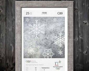2018 Winter Olympics Closing Ceremony Oversize Ticket Poster