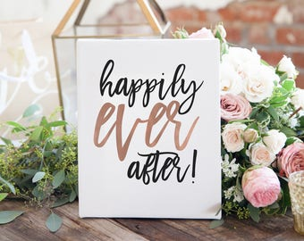 """Rose Gold and Black - """"Happily Ever After"""" - Wedding Signage - Wedding Fairy Tale Sign - The Penny Set"""