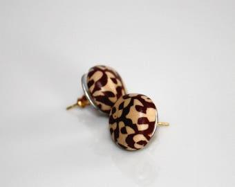 Earrings * brown-beige peach *.