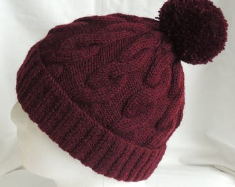Men's or Women's, Claret, Hand Knitted, Cable, Beanie Hat With Bobble / Pom Pom