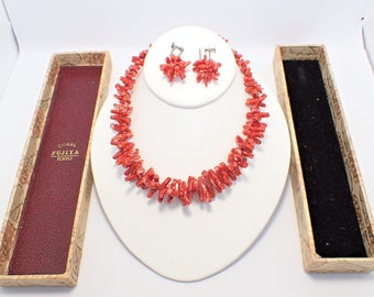 Fujiya Red Branch Coral Necklace and Screw Back Earrings Sterling Clasps Original Box Vintage 1940s