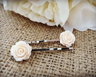 Cream Flower Hair Slides, Grip, Accessories, Vintage Inspired, Bobby Pin