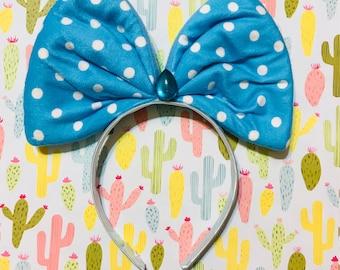 Cute Baby Blue Gem Polka Dot Fashion Jumbo Bow Headband