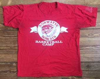 vintage, red t-shirt with white norwayne bobcats girls basketball