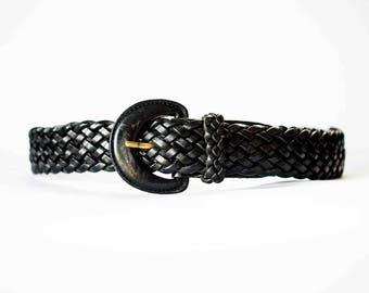 Vintage Leather Belt  -  Black Leather Belt  -  Woven Braided Leather Belt  -  Boho  -  Wide Belt in Black Leather  -  Small Leather Belt