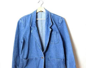 ON SALE Vintage Women's Blue Denim Blazer  from 90's*