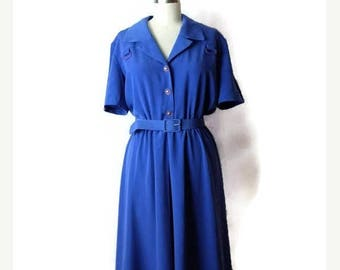 ON SALE Vintage Blue Short sleeve Slouchy Dress  from 1980's*
